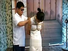 Chinese schoolgirl wear cheongsam and sexy underwear provide blowjob to mon 8