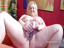 Chubby Ash-Blonde Is About To Take Off Her Clothes And Embark Jerking With A Enormous Bang-Out Plaything