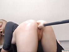 Blonde Slut Taking Machine Dildo In Both Holes